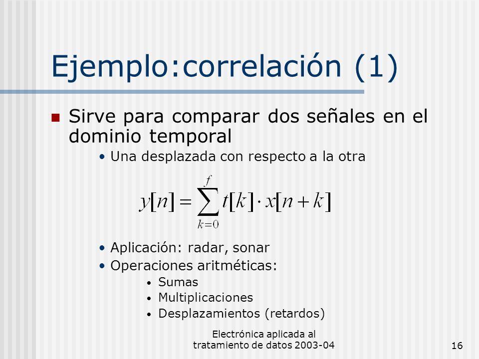 Electrónica aplicada al tratamiento de datos 2003-0416 Ejemplo:correlación (1) Sirve para comparar dos señales en el dominio temporal Una desplazada c