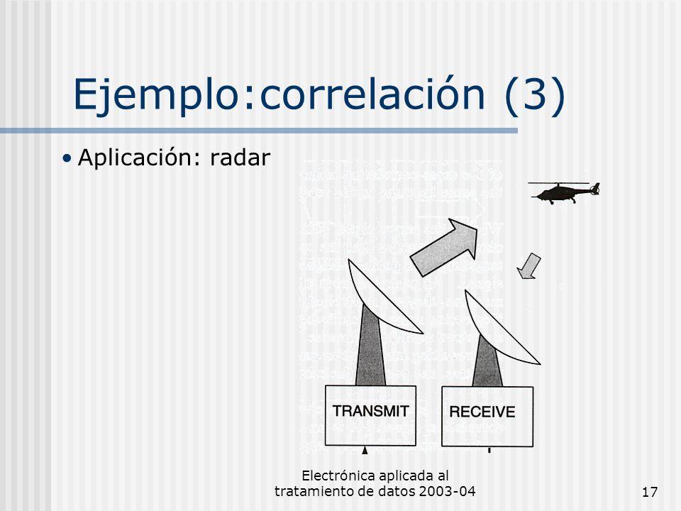 Electrónica aplicada al tratamiento de datos 2003-0417 Ejemplo:correlación (3) Aplicación: radar