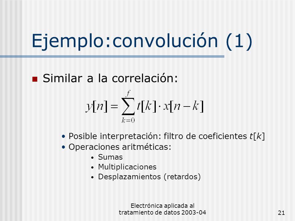 Electrónica aplicada al tratamiento de datos 2003-0421 Ejemplo:convolución (1) Similar a la correlación: Posible interpretación: filtro de coeficiente