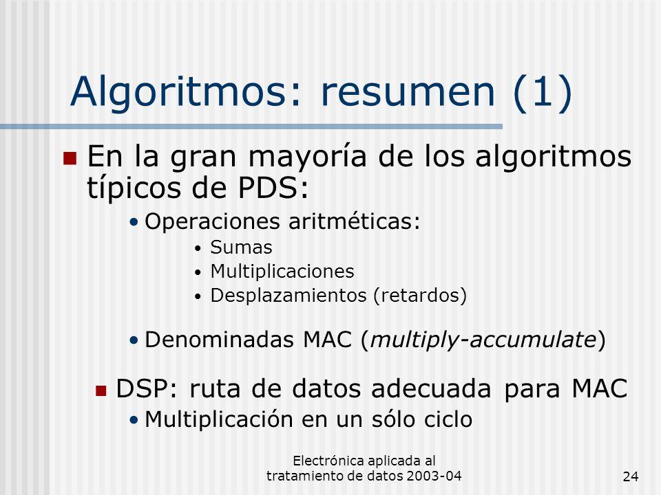 Electrónica aplicada al tratamiento de datos 2003-0424 Algoritmos: resumen (1) En la gran mayoría de los algoritmos típicos de PDS: Operaciones aritmé