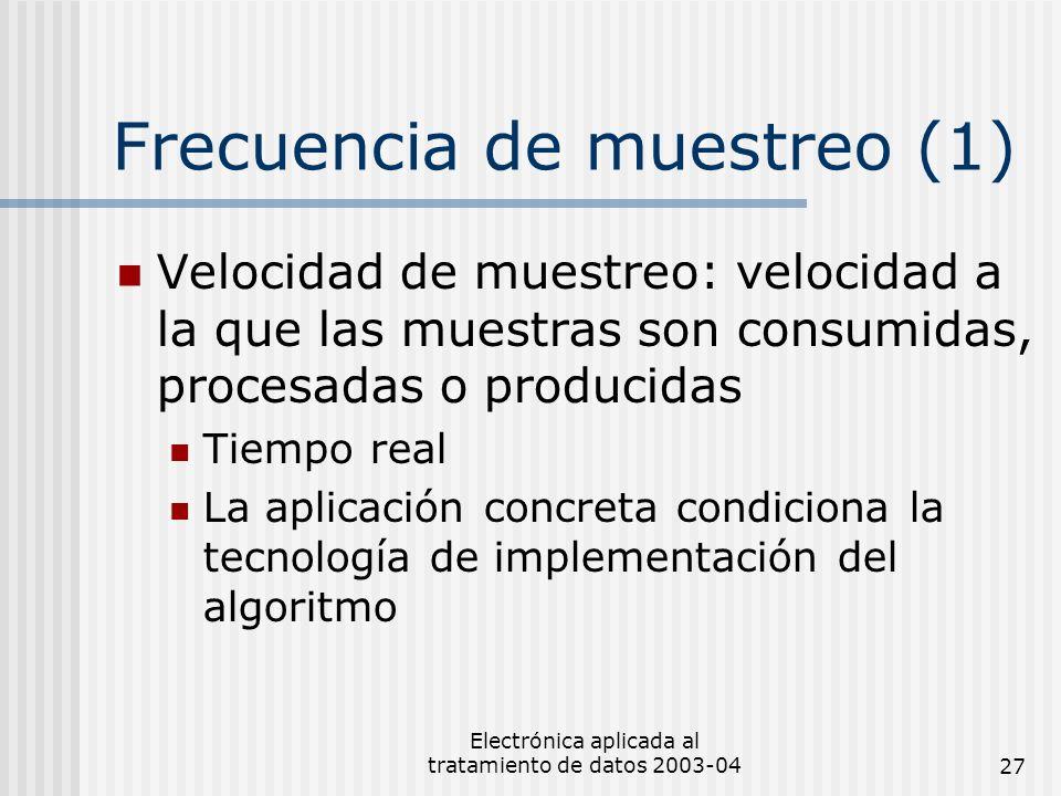 Electrónica aplicada al tratamiento de datos 2003-0427 Frecuencia de muestreo (1) Velocidad de muestreo: velocidad a la que las muestras son consumida