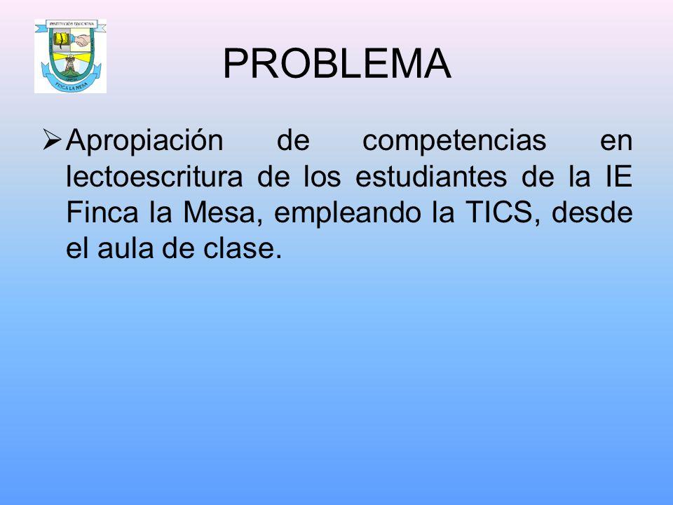 PROBLEMA Apropiación de competencias en lectoescritura de los estudiantes de la IE Finca la Mesa, empleando la TICS, desde el aula de clase.