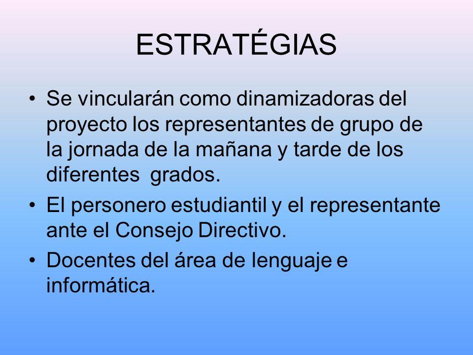ESTRATÉGIAS Se vincularán como dinamizadoras del proyecto los representantes de grupo de la jornada de la mañana y tarde de los diferentes grados.