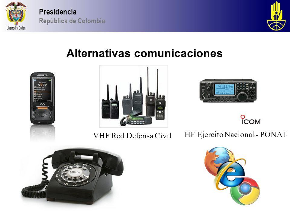 2013 Presidencia República de Colombia Alternativas comunicaciones VHF Red Defensa Civil HF Ejercito Nacional - PONAL