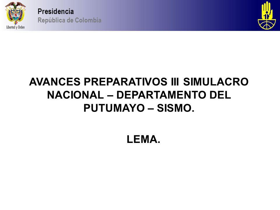 Presidencia República de Colombia DESPUES DEL SIMULACRO.