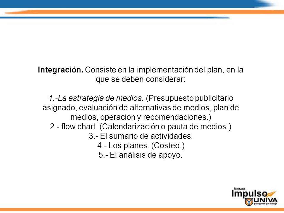 Integración. Consiste en la implementación del plan, en la que se deben considerar: 1.-La estrategia de medios. (Presupuesto publicitario asignado, ev
