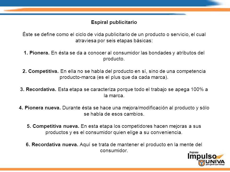 Espiral publicitario Éste se define como el ciclo de vida publicitario de un producto o servicio, el cual atraviesa por seis etapas básicas: 1. Pioner