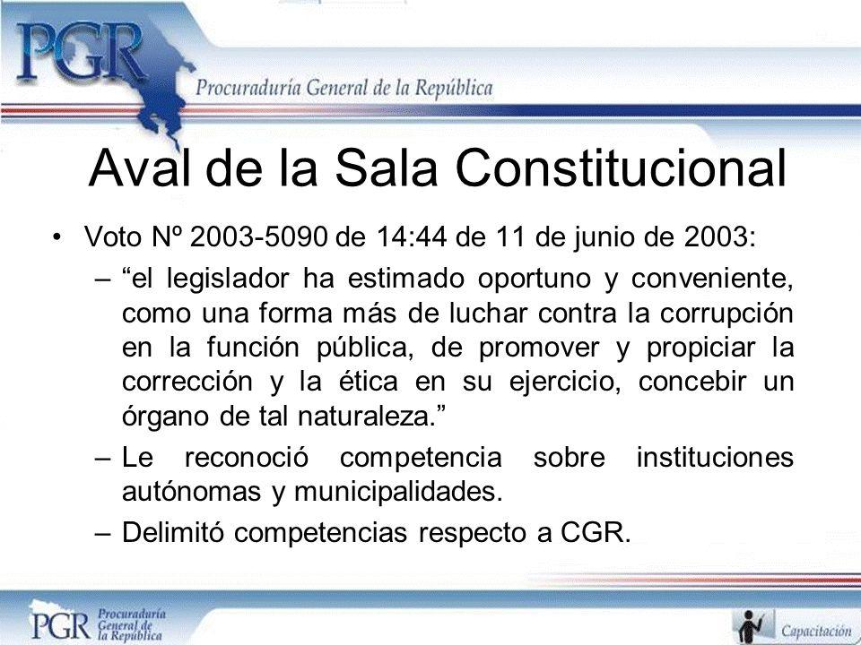Aval de la Sala Constitucional Voto Nº 2003-5090 de 14:44 de 11 de junio de 2003: –el legislador ha estimado oportuno y conveniente, como una forma más de luchar contra la corrupción en la función pública, de promover y propiciar la corrección y la ética en su ejercicio, concebir un órgano de tal naturaleza.