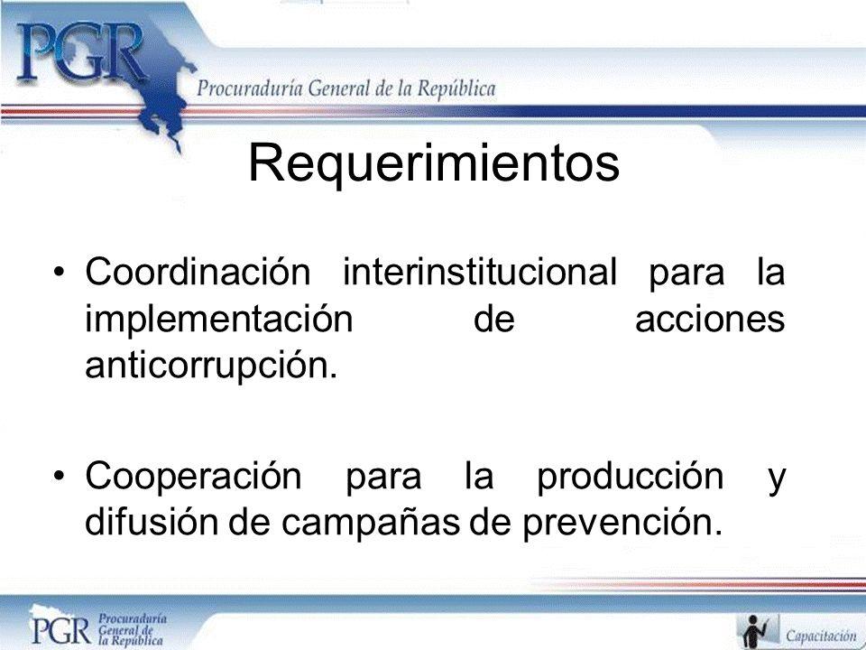 Requerimientos Coordinación interinstitucional para la implementación de acciones anticorrupción. Cooperación para la producción y difusión de campaña