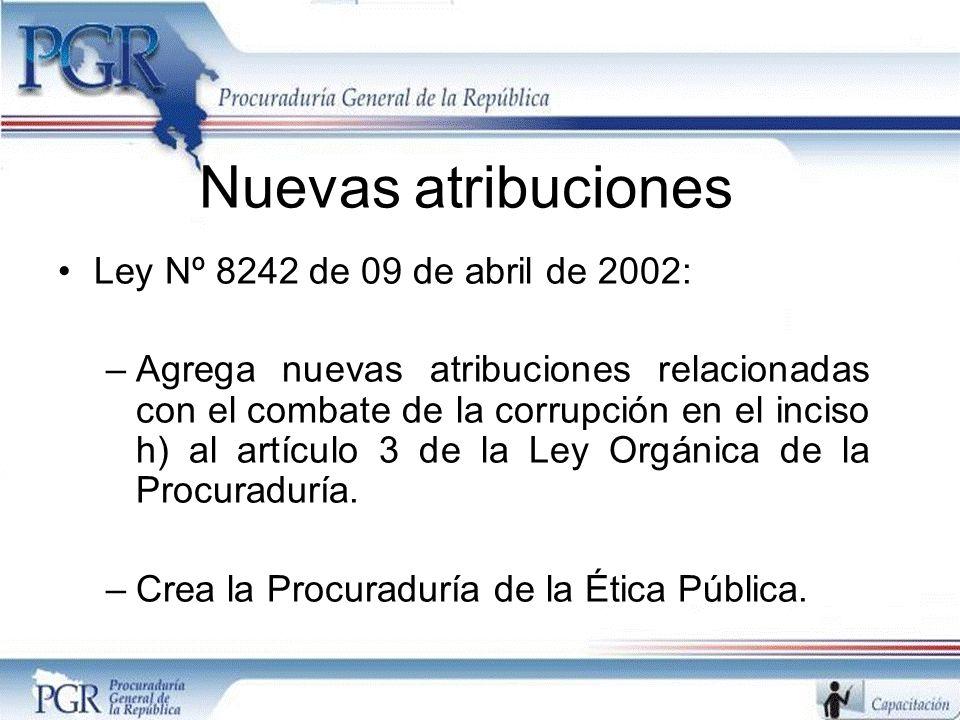 Nuevas atribuciones Ley Nº 8242 de 09 de abril de 2002: –Agrega nuevas atribuciones relacionadas con el combate de la corrupción en el inciso h) al artículo 3 de la Ley Orgánica de la Procuraduría.