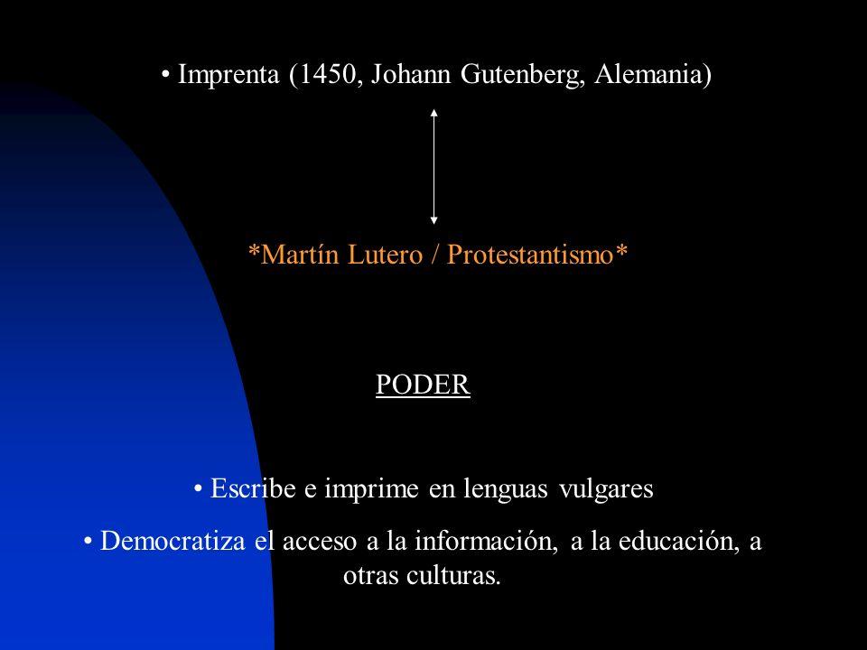 PODER Escribe e imprime en lenguas vulgares Democratiza el acceso a la información, a la educación, a otras culturas.
