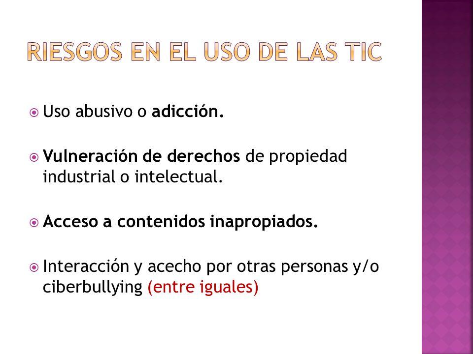 Uso abusivo o adicción.Vulneración de derechos de propiedad industrial o intelectual.