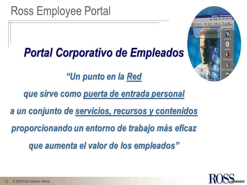 12© 2002 Ross Systems Ibérica Portal Corporativo de Empleados Un punto en la Red que sirve como puerta de entrada personal a un conjunto de servicios,