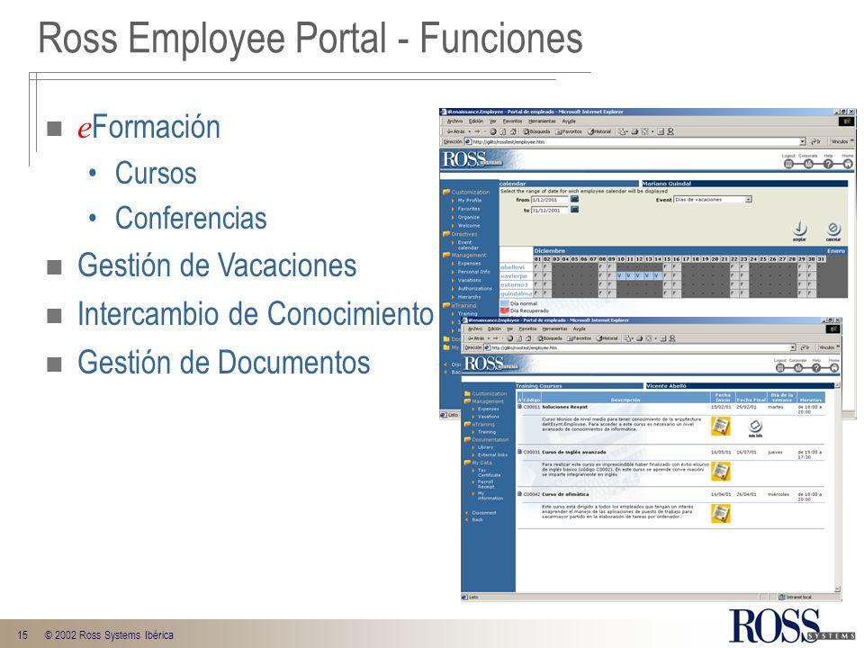 15© 2002 Ross Systems Ibérica e Formación Cursos Conferencias Gestión de Vacaciones Intercambio de Conocimiento Gestión de Documentos Ross Employee Po