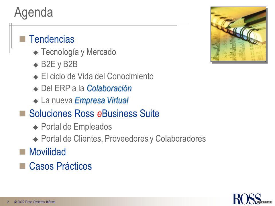2© 2002 Ross Systems Ibérica Tendencias Tecnología y Mercado B2E y B2B El ciclo de Vida del Conocimiento Colaboración Del ERP a la Colaboración Empres