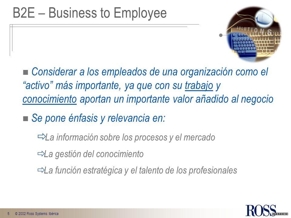5© 2002 Ross Systems Ibérica B2E – Business to Employee Considerar a los empleados de una organización como el activo más importante, ya que con su tr