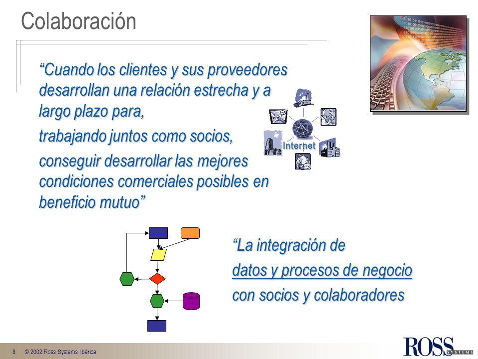 8© 2002 Ross Systems Ibérica Colaboración Cuando los clientes y sus proveedores desarrollan una relación estrecha y a largo plazo para, trabajando jun