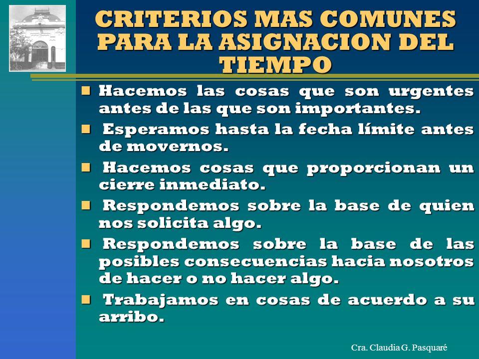 Cra. Claudia G. Pasquaré CRITERIOS MAS COMUNES PARA LA ASIGNACION DEL TIEMPO Hacemos las cosas que son urgentes antes de las que son importantes. Hace