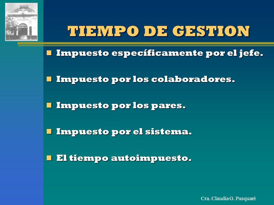 Cra. Claudia G. Pasquaré TIEMPO DE GESTION Impuesto específicamente por el jefe. Impuesto específicamente por el jefe. Impuesto por los colaboradores.