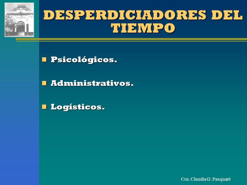 Cra. Claudia G. Pasquaré DESPERDICIADORES DEL TIEMPO Psicológicos. Psicológicos. Administrativos. Administrativos. Logísticos. Logísticos.