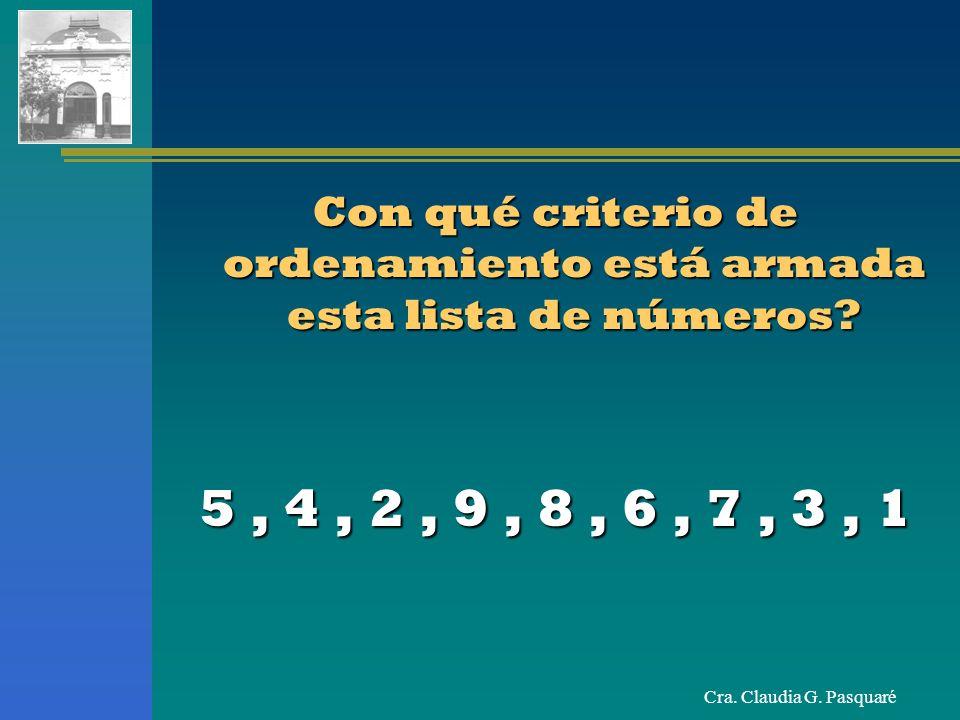 Cra. Claudia G. Pasquaré Con qué criterio de ordenamiento está armada esta lista de números? 5, 4, 2, 9, 8, 6, 7, 3, 1