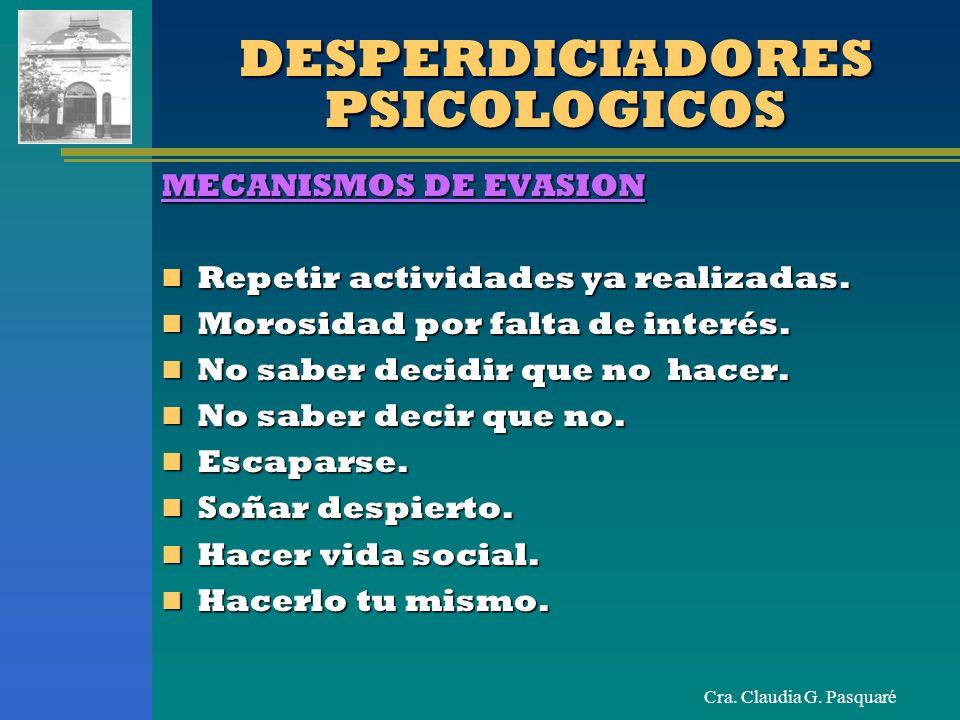 Cra. Claudia G. Pasquaré DESPERDICIADORES PSICOLOGICOS MECANISMOS DE EVASION Repetir actividades ya realizadas. Repetir actividades ya realizadas. Mor