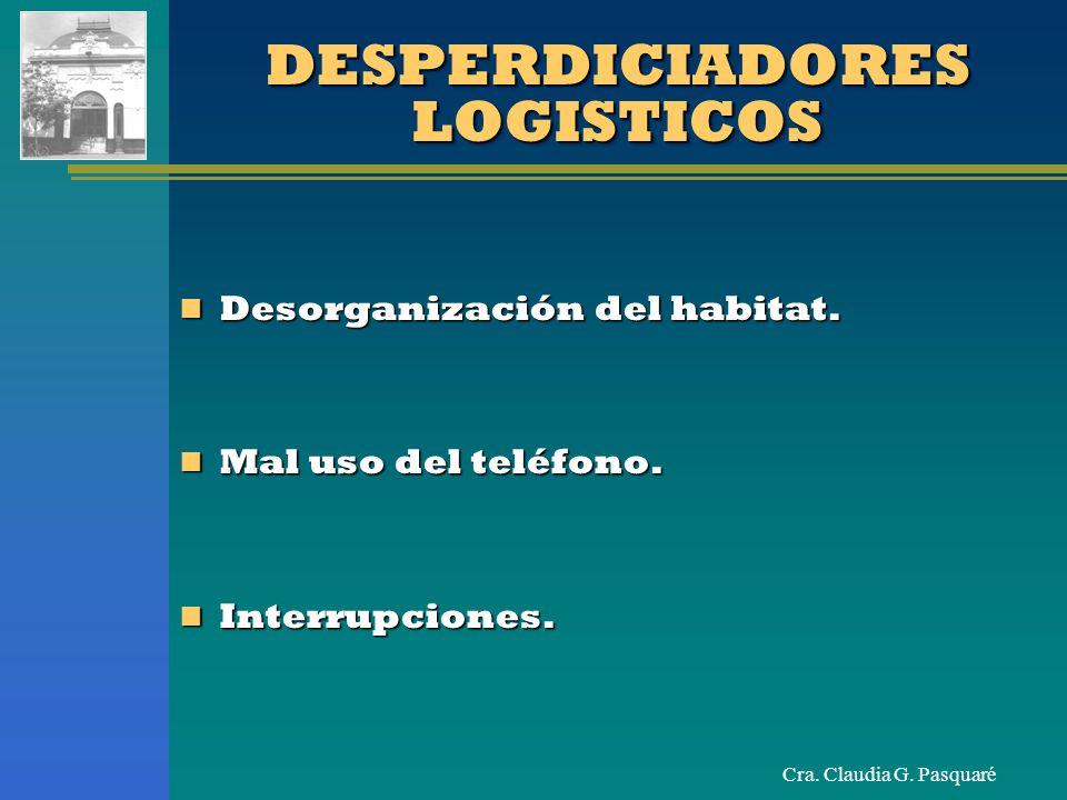 Cra. Claudia G. Pasquaré DESPERDICIADORES LOGISTICOS Desorganización del habitat. Desorganización del habitat. Mal uso del teléfono. Mal uso del teléf