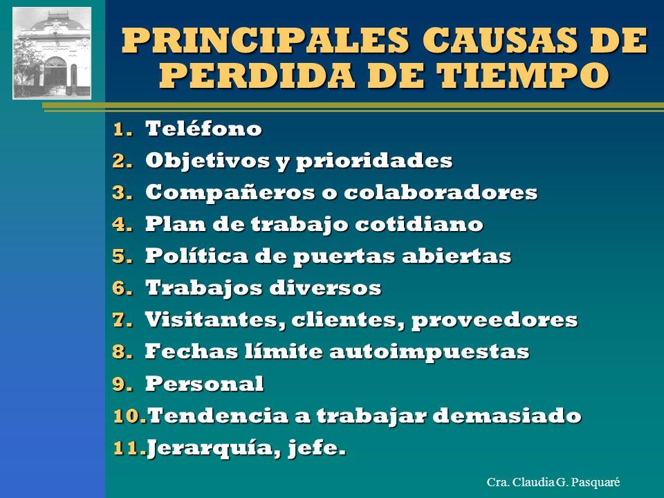 Cra. Claudia G. Pasquaré PRINCIPALES CAUSAS DE PERDIDA DE TIEMPO 1. Teléfono 2. Objetivos y prioridades 3. Compañeros o colaboradores 4. Plan de traba