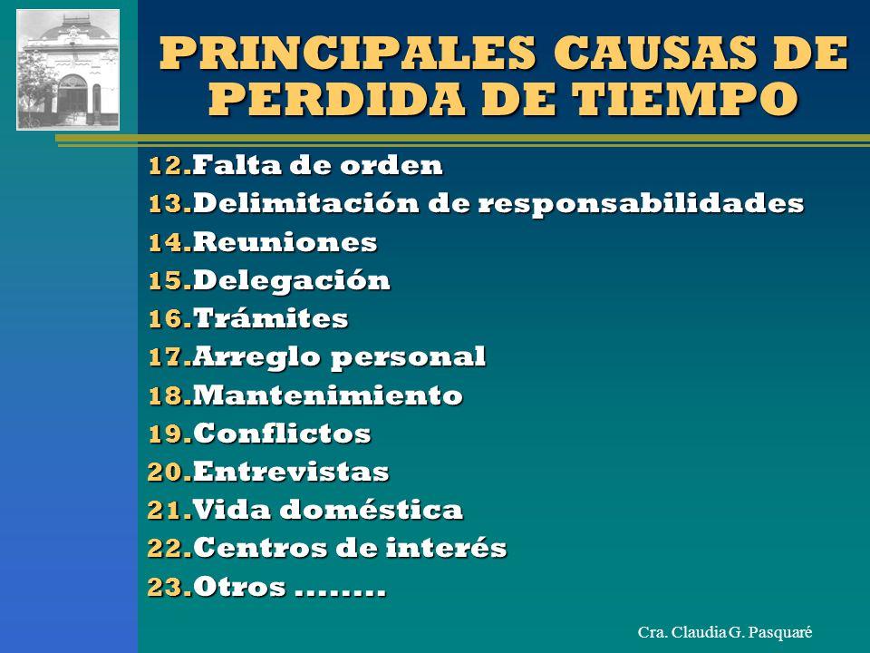 Cra. Claudia G. Pasquaré PRINCIPALES CAUSAS DE PERDIDA DE TIEMPO 12. Falta de orden 13. Delimitación de responsabilidades 14. Reuniones 15. Delegación