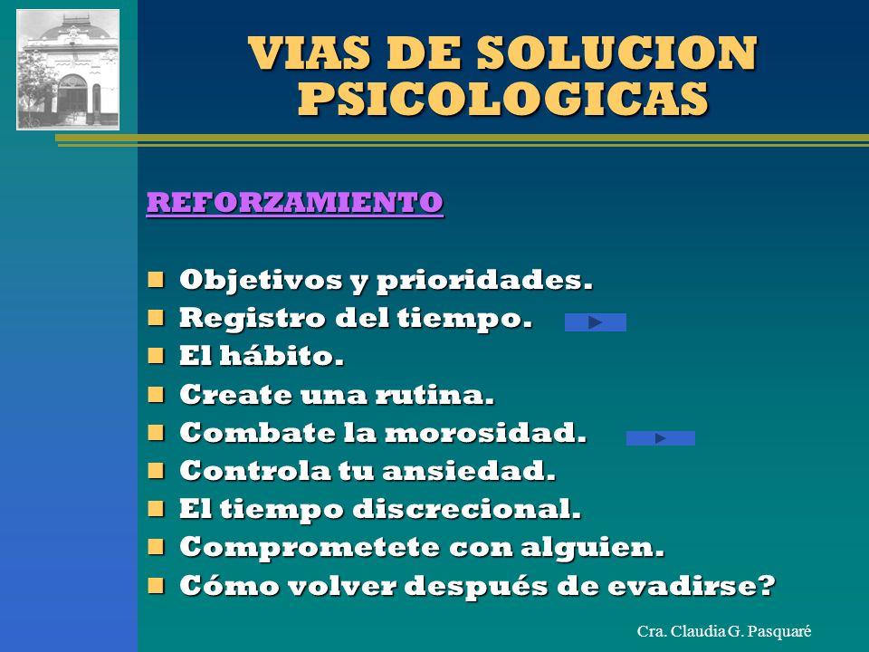 Cra. Claudia G. Pasquaré VIAS DE SOLUCION PSICOLOGICAS REFORZAMIENTO Objetivos y prioridades. Objetivos y prioridades. Registro del tiempo. Registro d