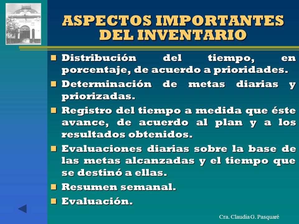 Cra. Claudia G. Pasquaré ASPECTOS IMPORTANTES DEL INVENTARIO Distribución del tiempo, en porcentaje, de acuerdo a prioridades. Distribución del tiempo