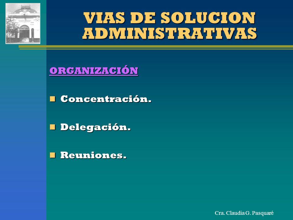 Cra. Claudia G. Pasquaré VIAS DE SOLUCION ADMINISTRATIVAS ORGANIZACIÓN Concentración. Concentración. Delegación. Delegación. Reuniones. Reuniones.