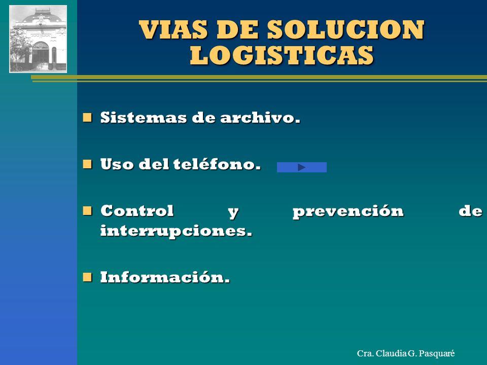 Cra. Claudia G. Pasquaré VIAS DE SOLUCION LOGISTICAS Sistemas de archivo. Sistemas de archivo. Uso del teléfono. Uso del teléfono. Control y prevenció