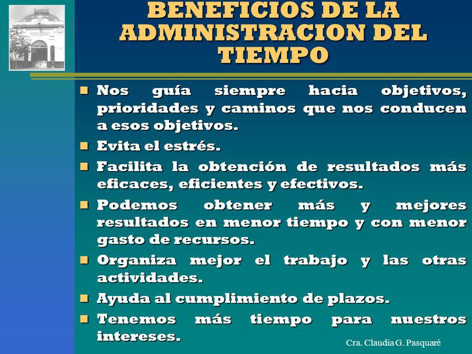 Cra. Claudia G. Pasquaré BENEFICIOS DE LA ADMINISTRACION DEL TIEMPO Nos guía siempre hacia objetivos, prioridades y caminos que nos conducen a esos ob