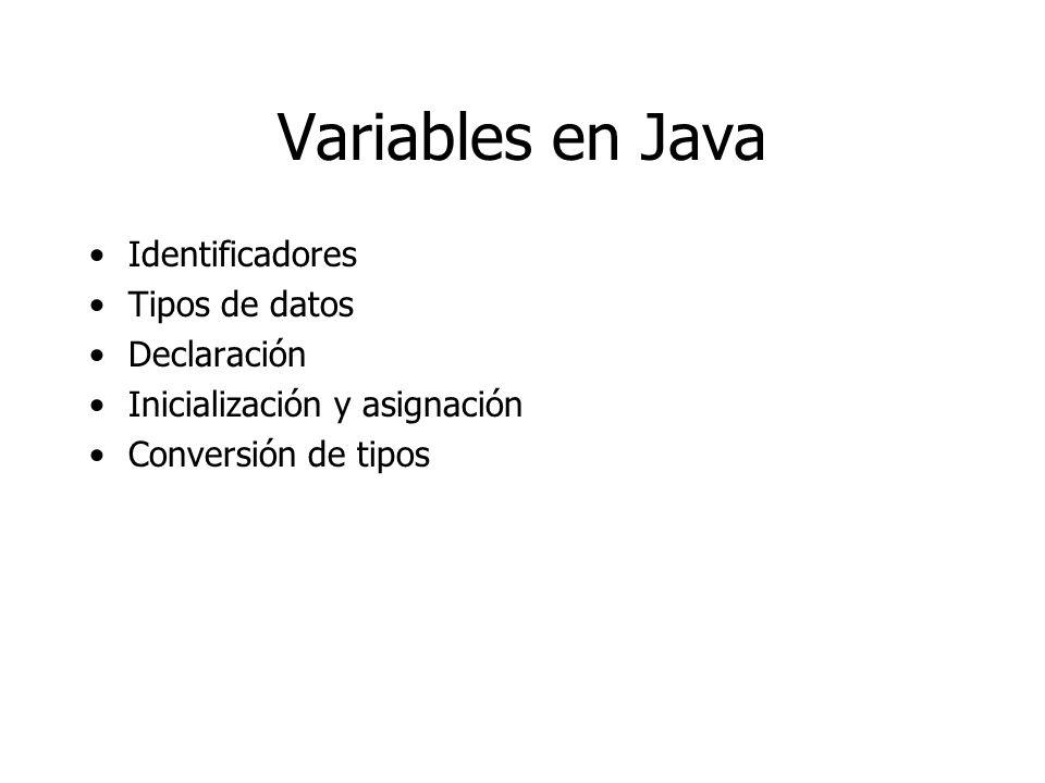 Variables en Java Identificadores Tipos de datos Declaración Inicialización y asignación Conversión de tipos