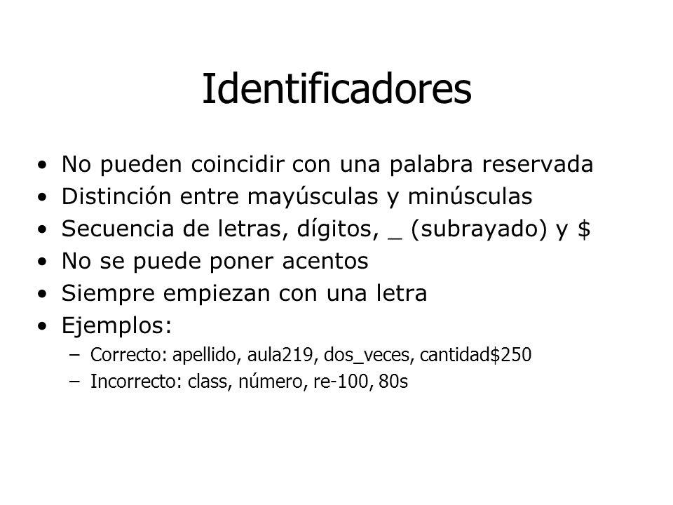 Identificadores No pueden coincidir con una palabra reservada Distinción entre mayúsculas y minúsculas Secuencia de letras, dígitos, _ (subrayado) y $