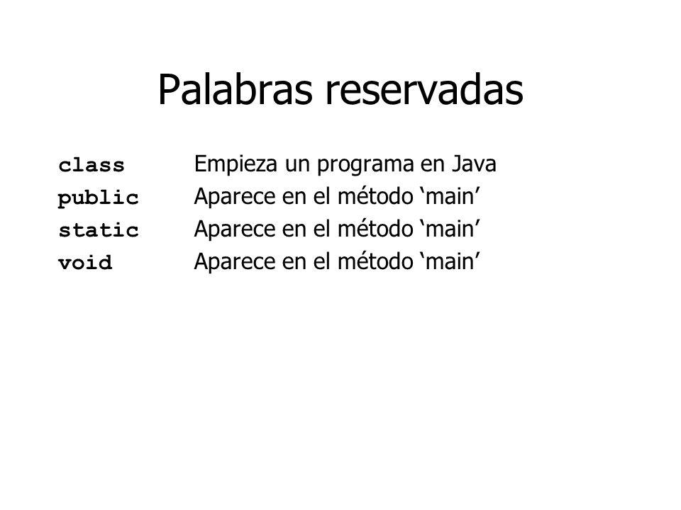Palabras reservadas class Empieza un programa en Java public Aparece en el método main static Aparece en el método main void Aparece en el método main