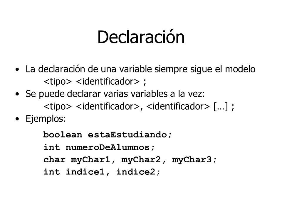 Declaración La declaración de una variable siempre sigue el modelo ; Se puede declarar varias variables a la vez:, […] ; Ejemplos: boolean estaEstudia