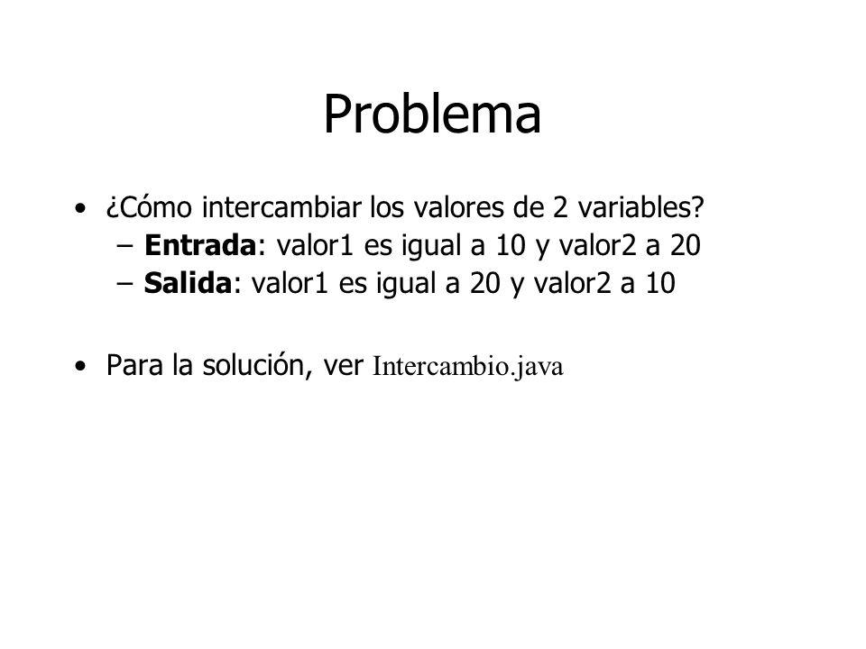 Problema ¿Cómo intercambiar los valores de 2 variables? –Entrada: valor1 es igual a 10 y valor2 a 20 –Salida: valor1 es igual a 20 y valor2 a 10 Para