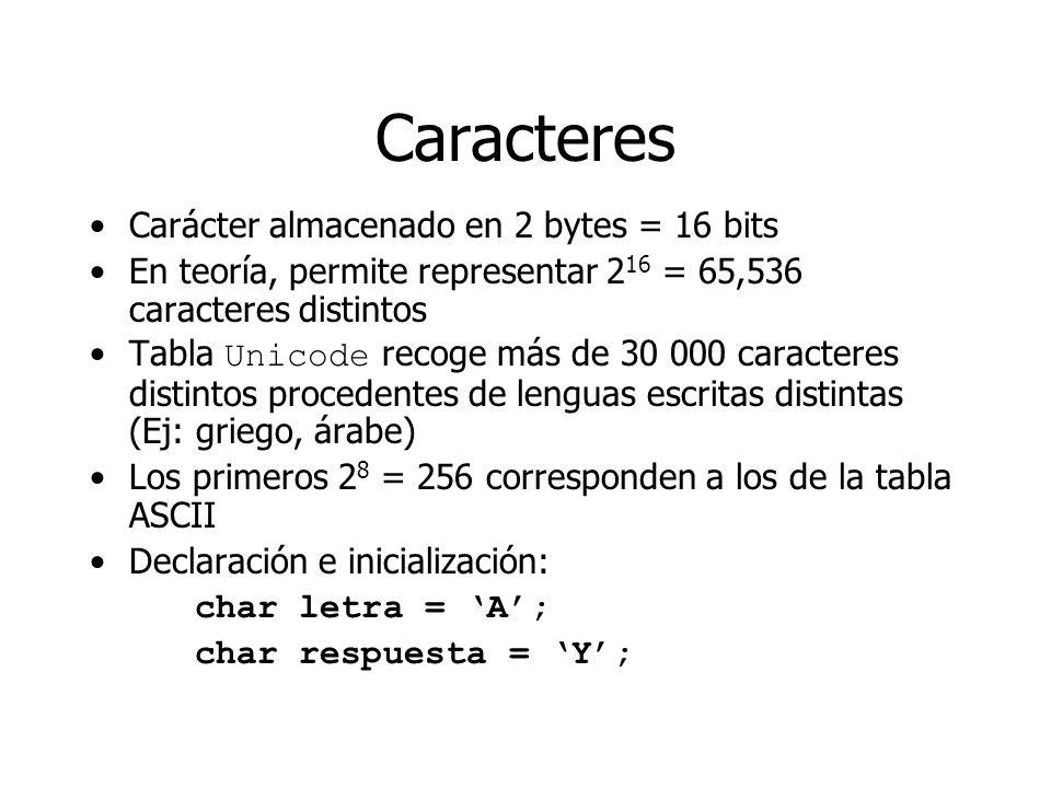 Caracteres Carácter almacenado en 2 bytes = 16 bits En teoría, permite representar 2 16 = 65,536 caracteres distintos Tabla Unicode recoge más de 30 0