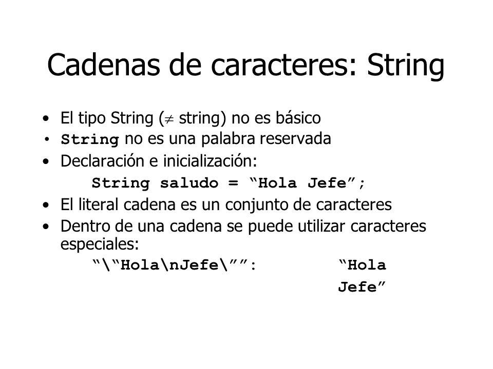 Cadenas de caracteres: String El tipo String ( string) no es básico String no es una palabra reservada Declaración e inicialización: String saludo = H