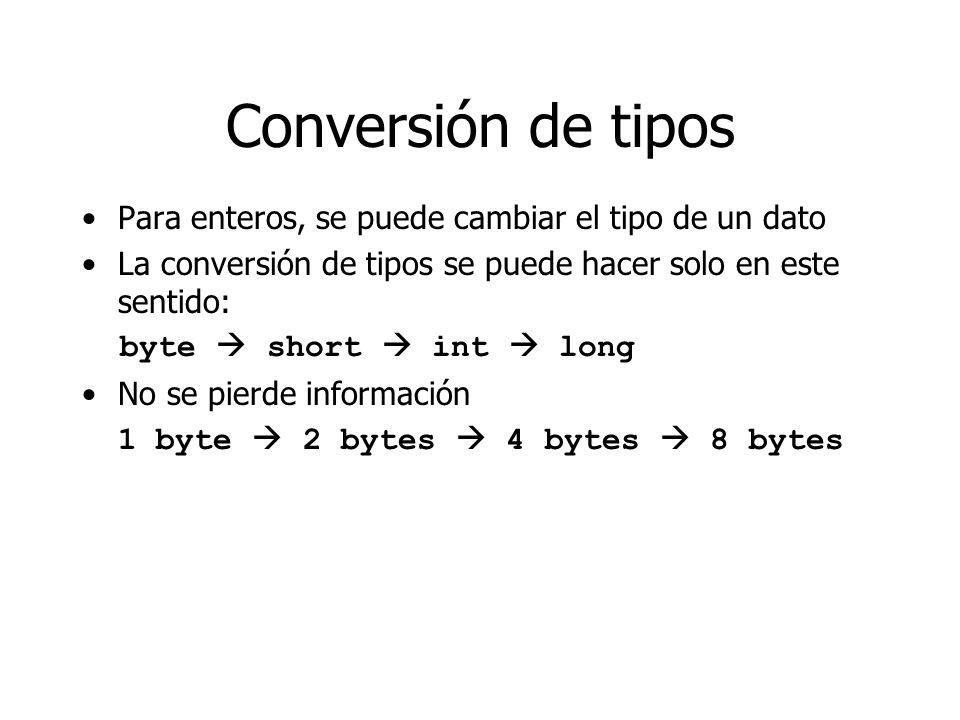 Conversión de tipos Para enteros, se puede cambiar el tipo de un dato La conversión de tipos se puede hacer solo en este sentido: byte short int long