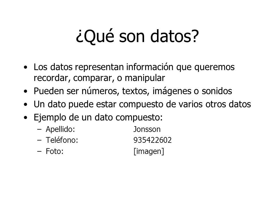 ¿Qué son datos? Los datos representan información que queremos recordar, comparar, o manipular Pueden ser números, textos, imágenes o sonidos Un dato