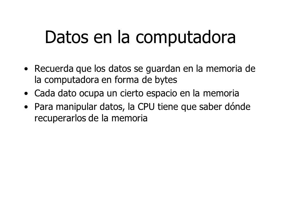 Datos en la computadora Recuerda que los datos se guardan en la memoria de la computadora en forma de bytes Cada dato ocupa un cierto espacio en la me