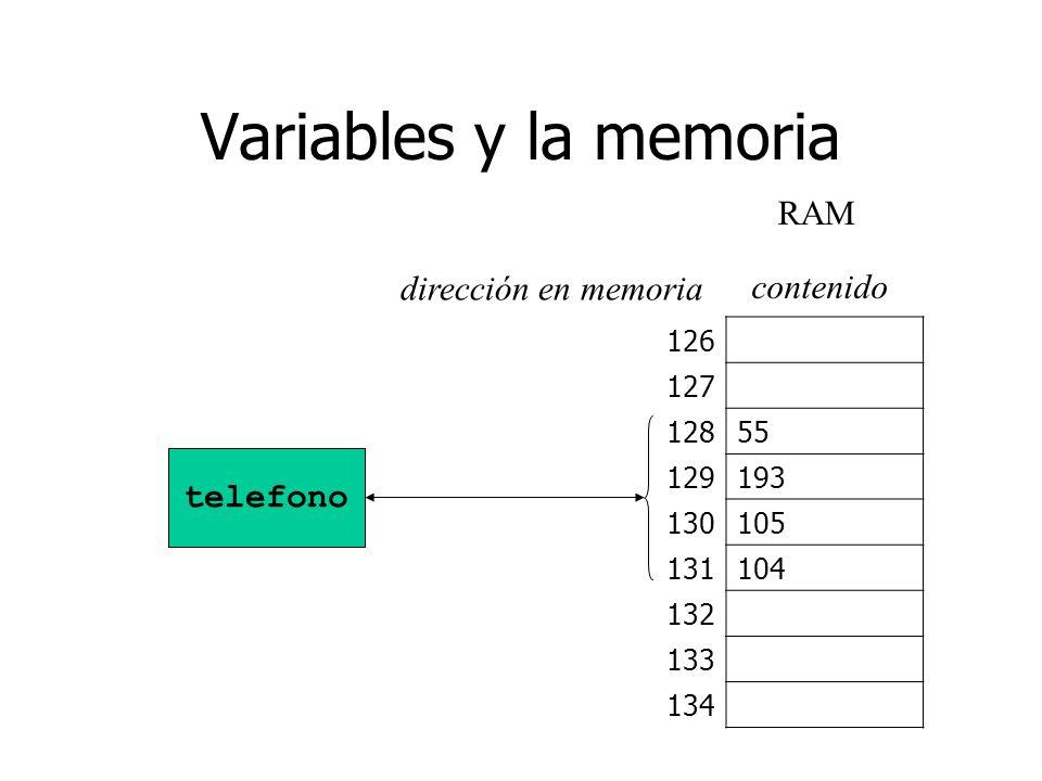 Variables y la memoria 126 127 12855 129193 130105 131104 132 133 134 telefono RAM dirección en memoria contenido
