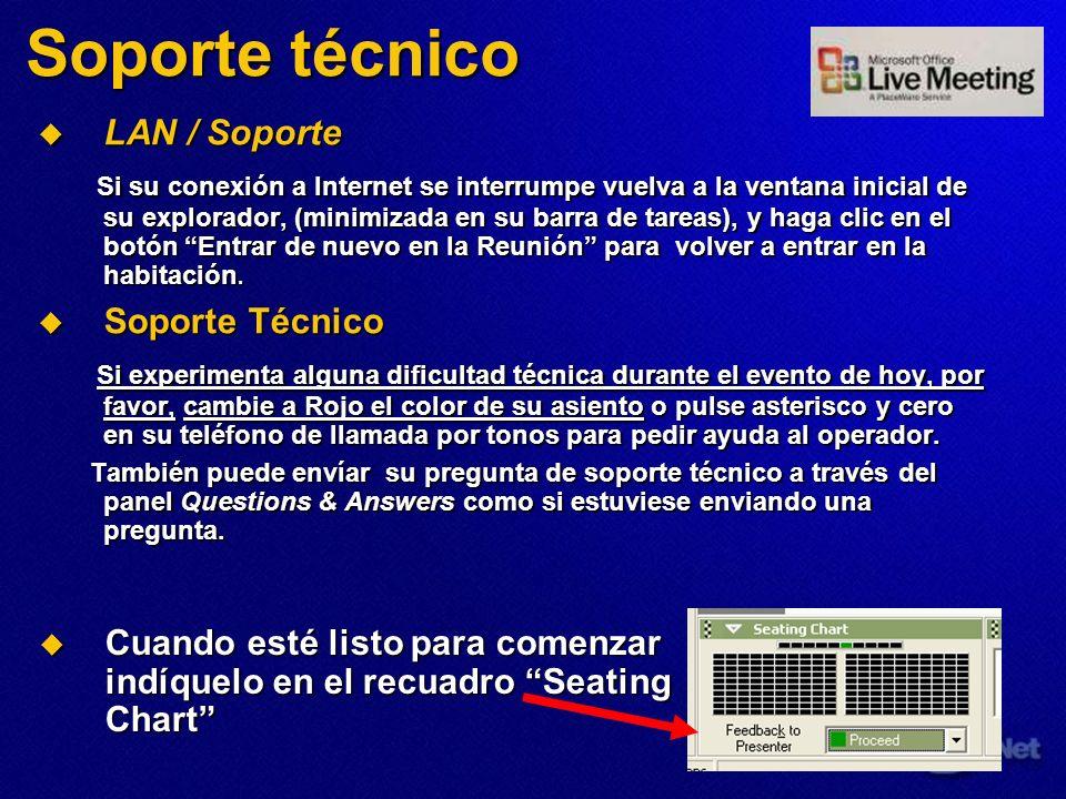 Soporte técnico LAN / Soporte LAN / Soporte Si su conexión a Internet se interrumpe vuelva a la ventana inicial de su explorador, (minimizada en su ba
