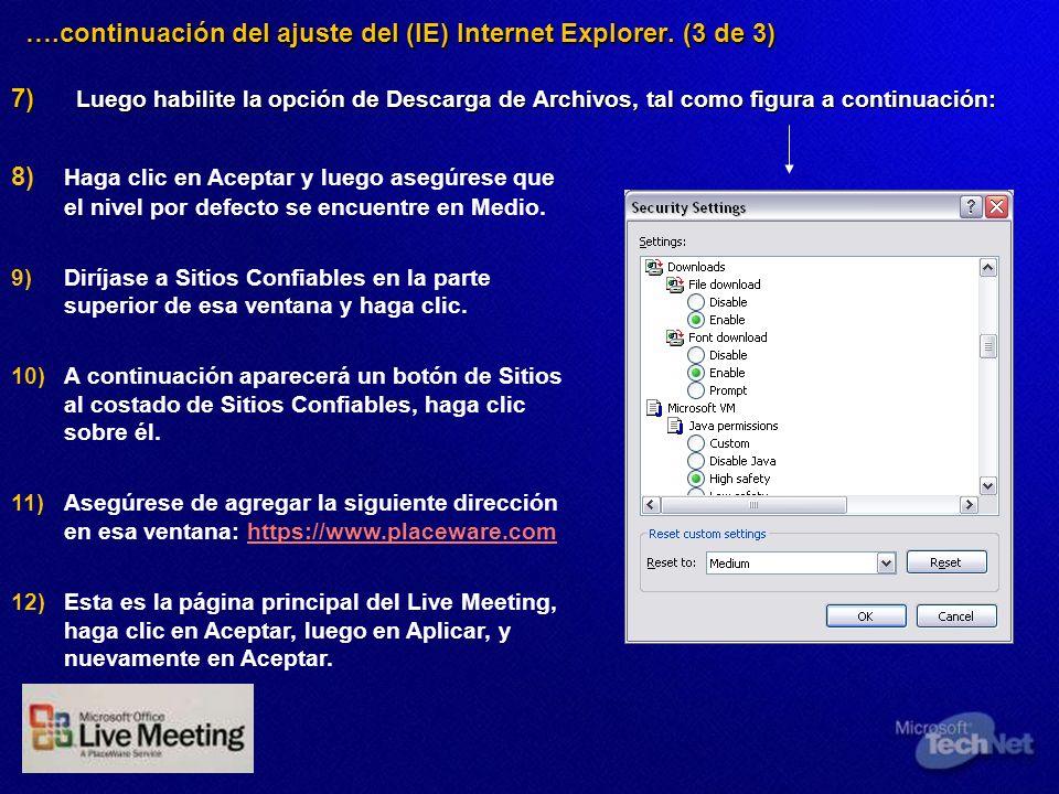 ….continuación del ajuste del (IE) Internet Explorer. (3 de 3) 7) Luego habilite la opción de Descarga de Archivos, tal como figura a continuación: 7)