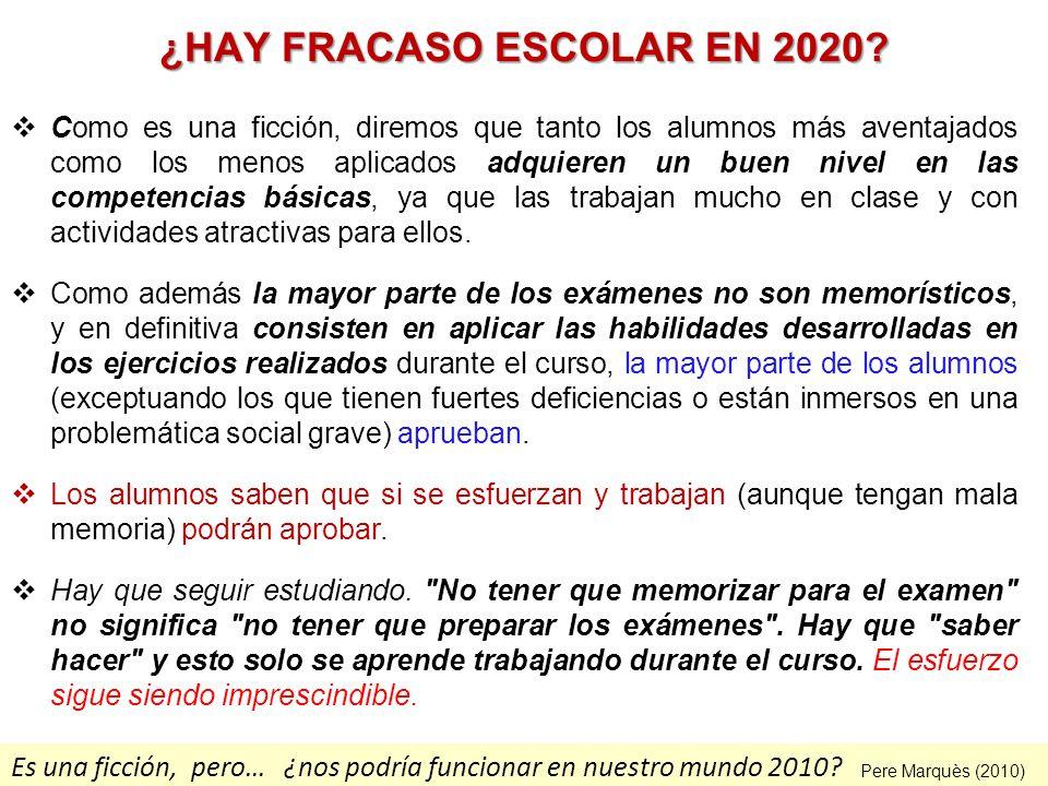 Es una ficción, pero… ¿nos podría funcionar en nuestro mundo 2010? ¿HAY FRACASO ESCOLAR EN 2020? Como es una ficción, diremos que tanto los alumnos má
