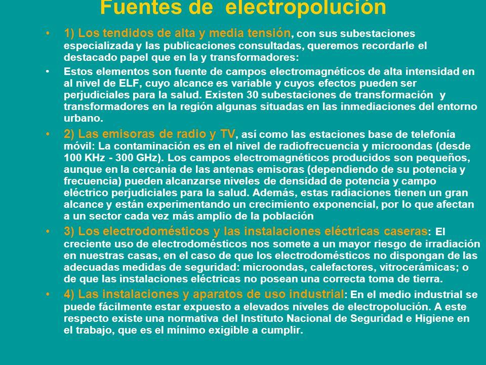 Las radiaciones no ionizantes son las producidas por la corriente eléctrica, transmisiones de radio y televisión, y telefonía móvil (también llamadas microondas).