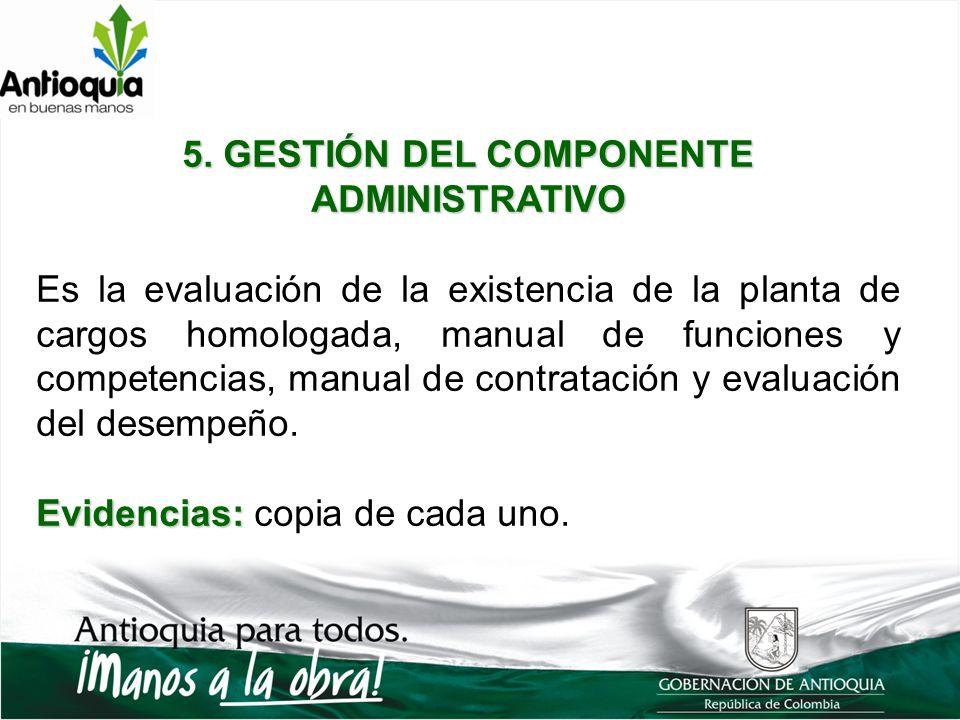 5. GESTIÓN DEL COMPONENTE ADMINISTRATIVO Es la evaluación de la existencia de la planta de cargos homologada, manual de funciones y competencias, manu